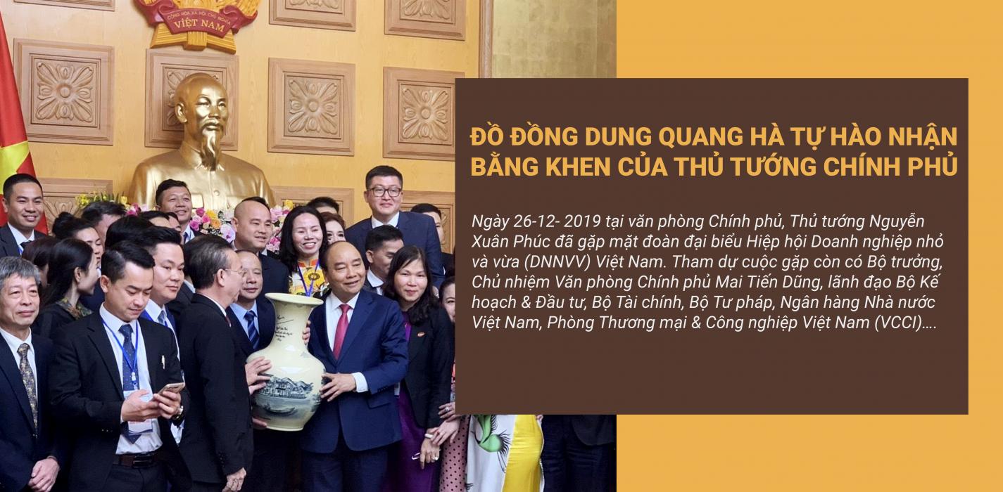 Đồ Đồng Dung Quang Hà vinh dự nhận bằng khen của thủ tướng chính phủ Nguyễn Xuân Phúc