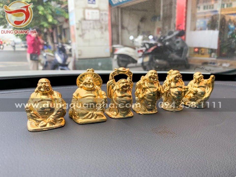 Bộ 6 tượng Phật Di Lặc mạ vàng để xe ô tô
