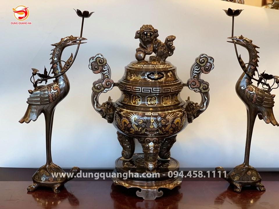 Bộ đỉnh đồng khảm ngũ sắc chữ tiếng Việt Phúc Lộc Thọ Khang Ninh - Đức Lưu Quang