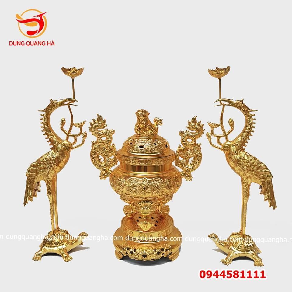 Bộ đồ thờ cúng bằng đồng thếp vàng 9999