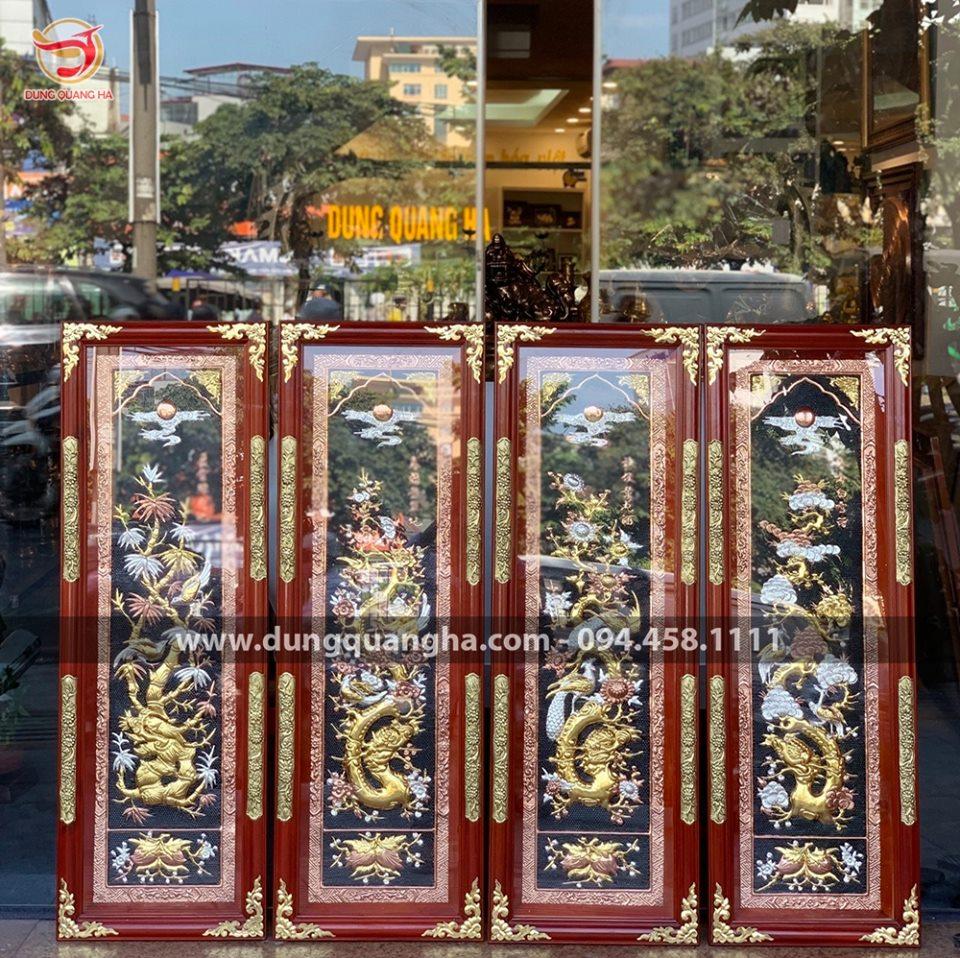 Bộ tranh Tứ quý đẹp chạm tam khí 1m2 khung gỗ bọc đồng sang trọng