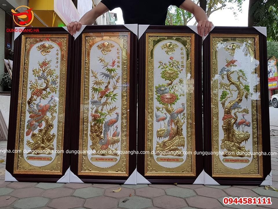 Bộ tranh Tứ quý đẹp khung giả gỗ