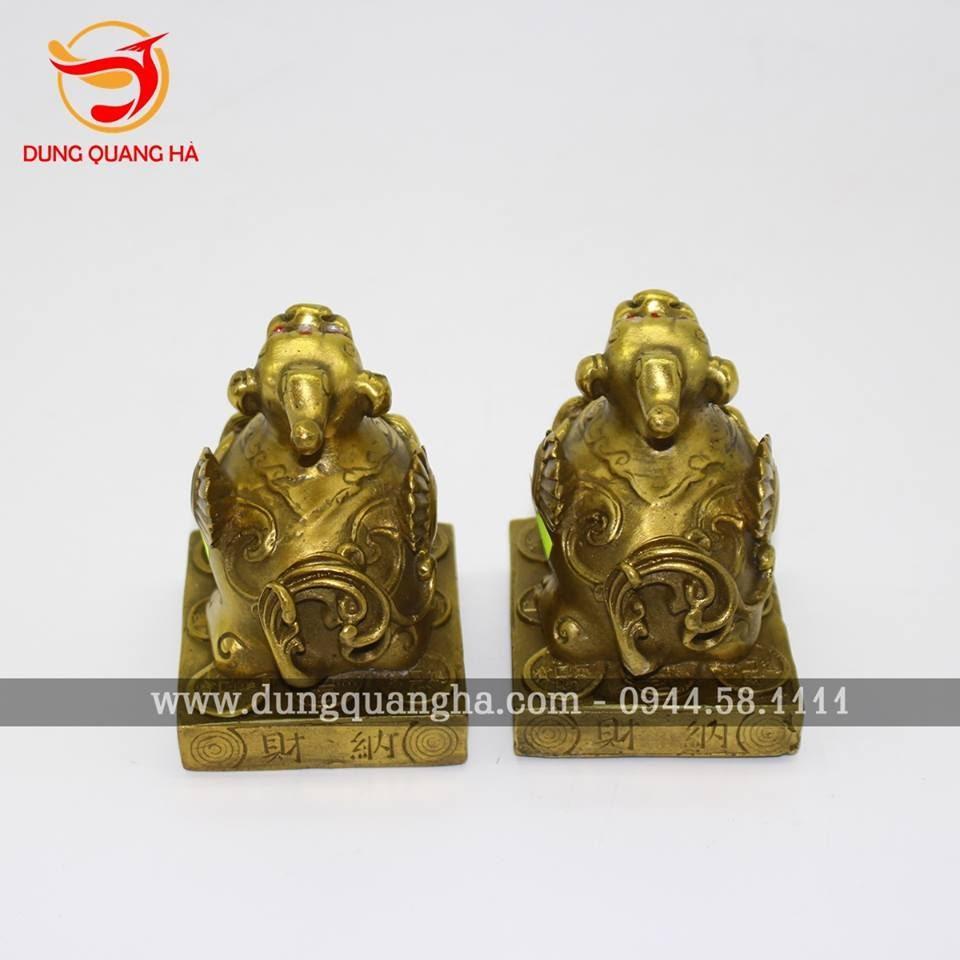 Cặp Tỳ Hưu bằng đồng có cánh trang trí bàn làm việc
