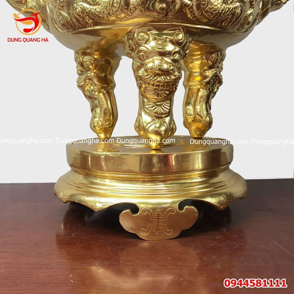 Đỉnh đồng cổ kính thếp vàng 9999 cao cấp