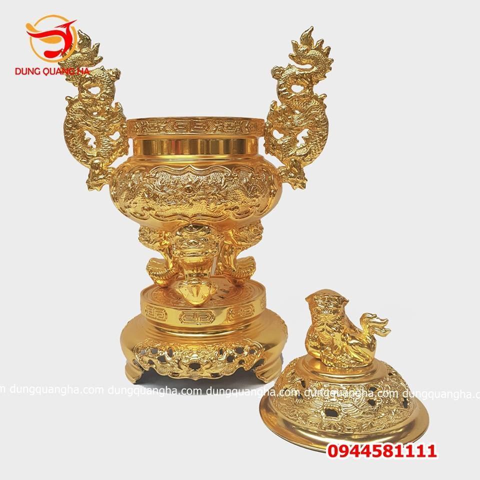 Đỉnh đồng đẹp thếp vàng 9999 cao cấp