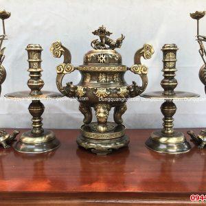 Đỉnh đồng thờ cúng chạm sòi giả cổ cao 50cm
