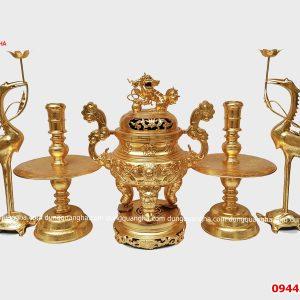 Đỉnh đồng thờ thếp vàng 9999 cao cấp