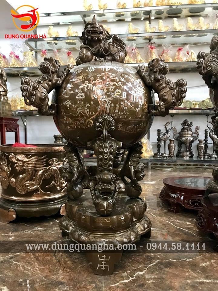 Đỉnh thất lân vờn cầu bằng đồng – tinh xảo, chất lượng tại Dung Quang Hà