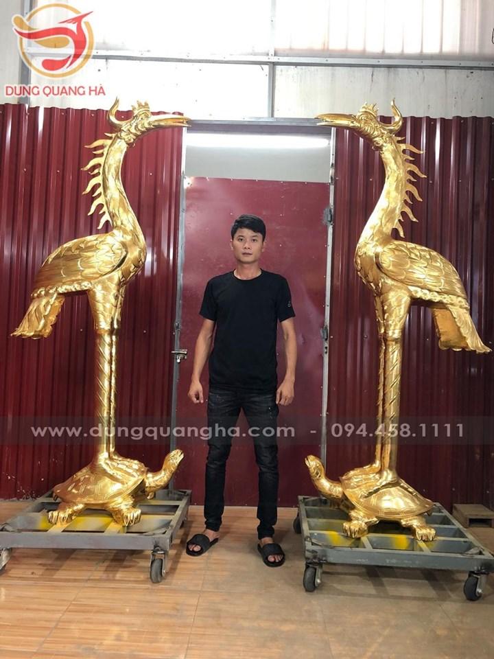 Đôi hạc đồng thờ cúng cao 2m2 thếp vàng tinh xảo