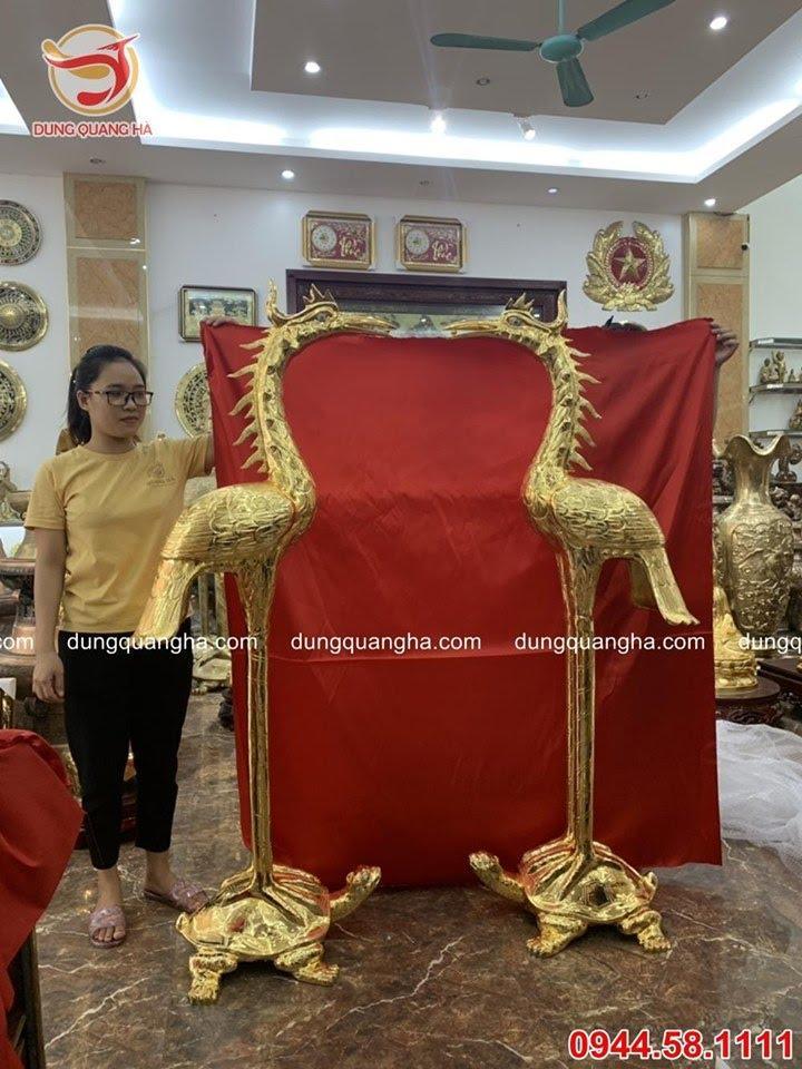 Đôi hạc thờ 1m7 thếp vàng