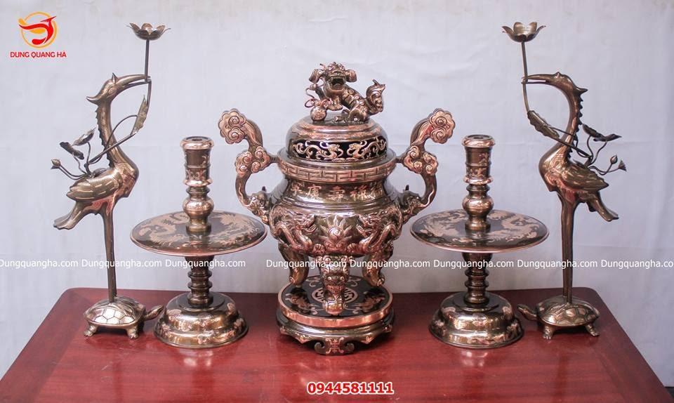 Đôi hạc thờ đồng đỏ cạo màu cao 60cm