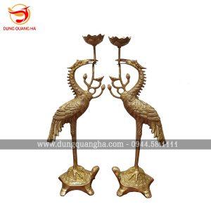 Đôi hạc thờ ngậm sen đồng vàng mộc chế tác thủ công ấn tượng