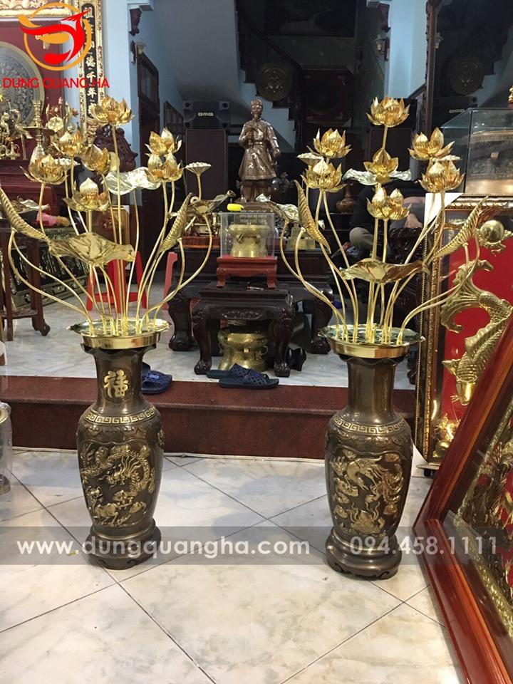 Hoa sen thờ cúng bằng đồng