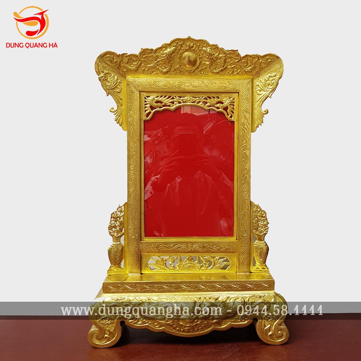Khung ảnh thờ đồng vàng hoa văn tinh xảo