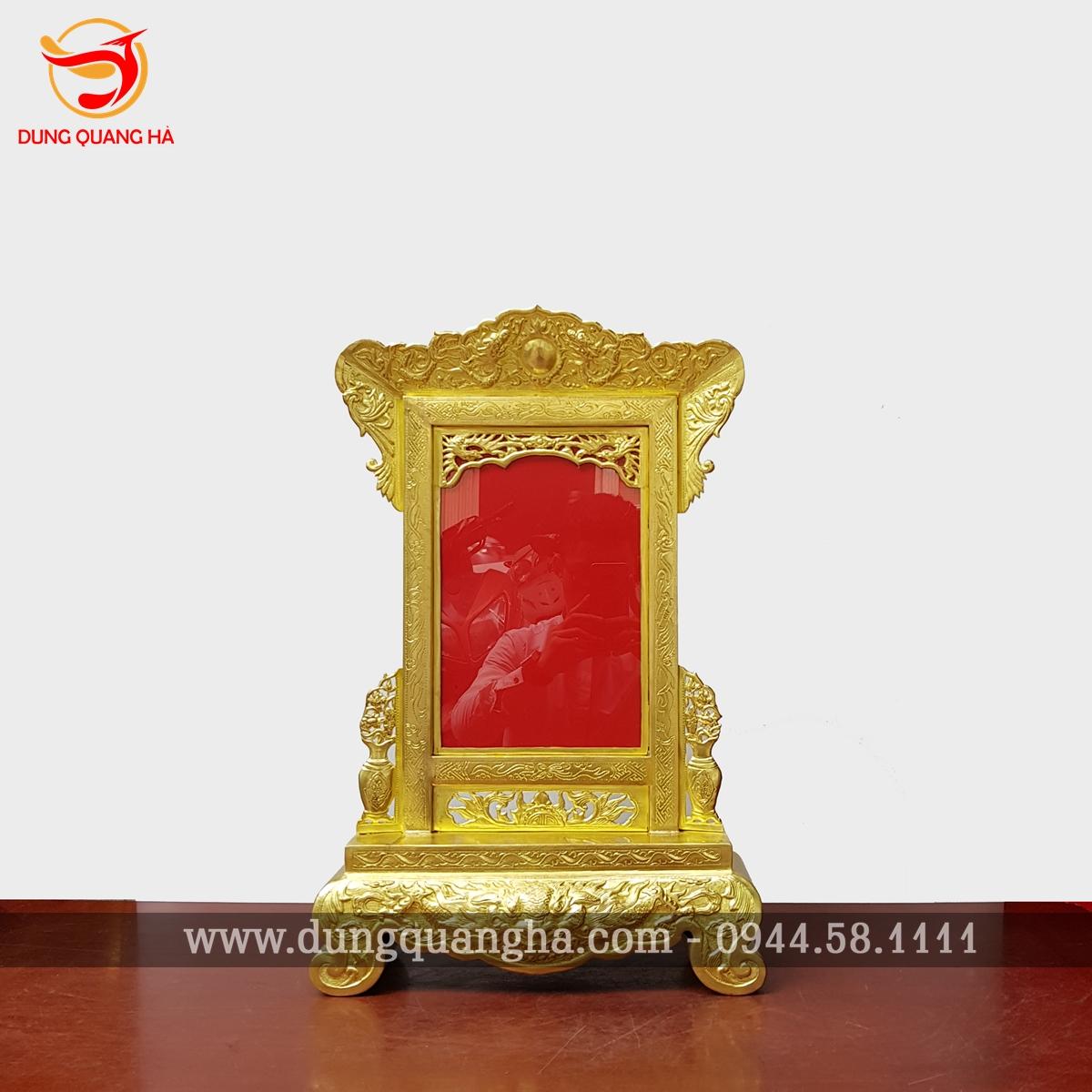 Khung ảnh thờ đồng vàng hoa văn tinh xảo 3