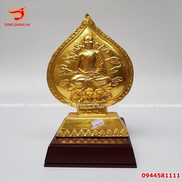 Lá đề tượng Phật Trần Nhân Tông thếp vàng 9999