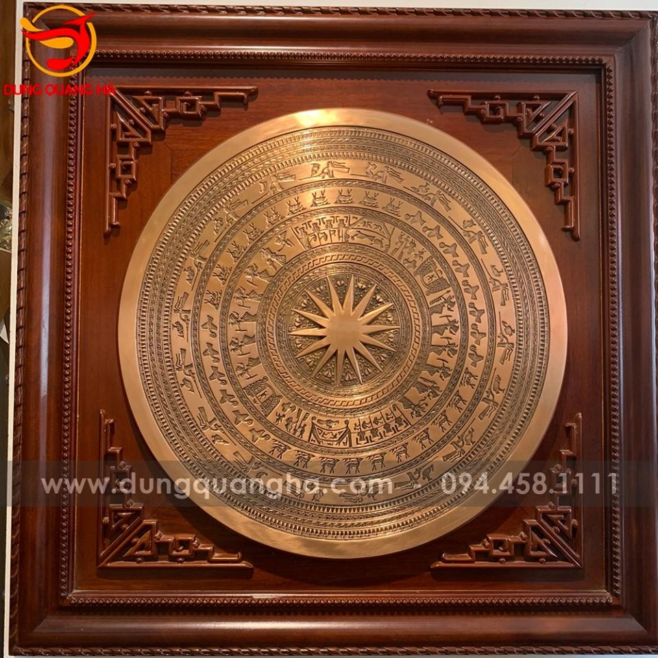 Mặt trống đồng Ngọc Lũ 60 vân chìm khung gỗ gụ 90cm