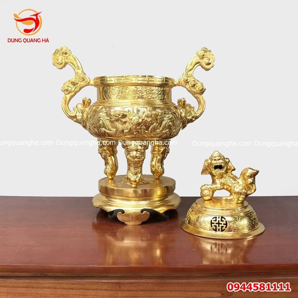 Mẫu đỉnh đồng đẹp thếp vàng 9999