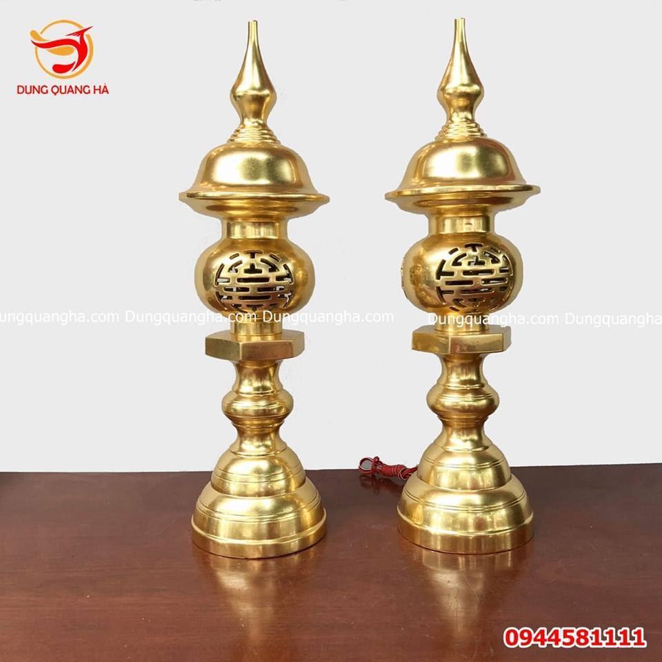 Đôi đèn thờ thếp vàng 9999