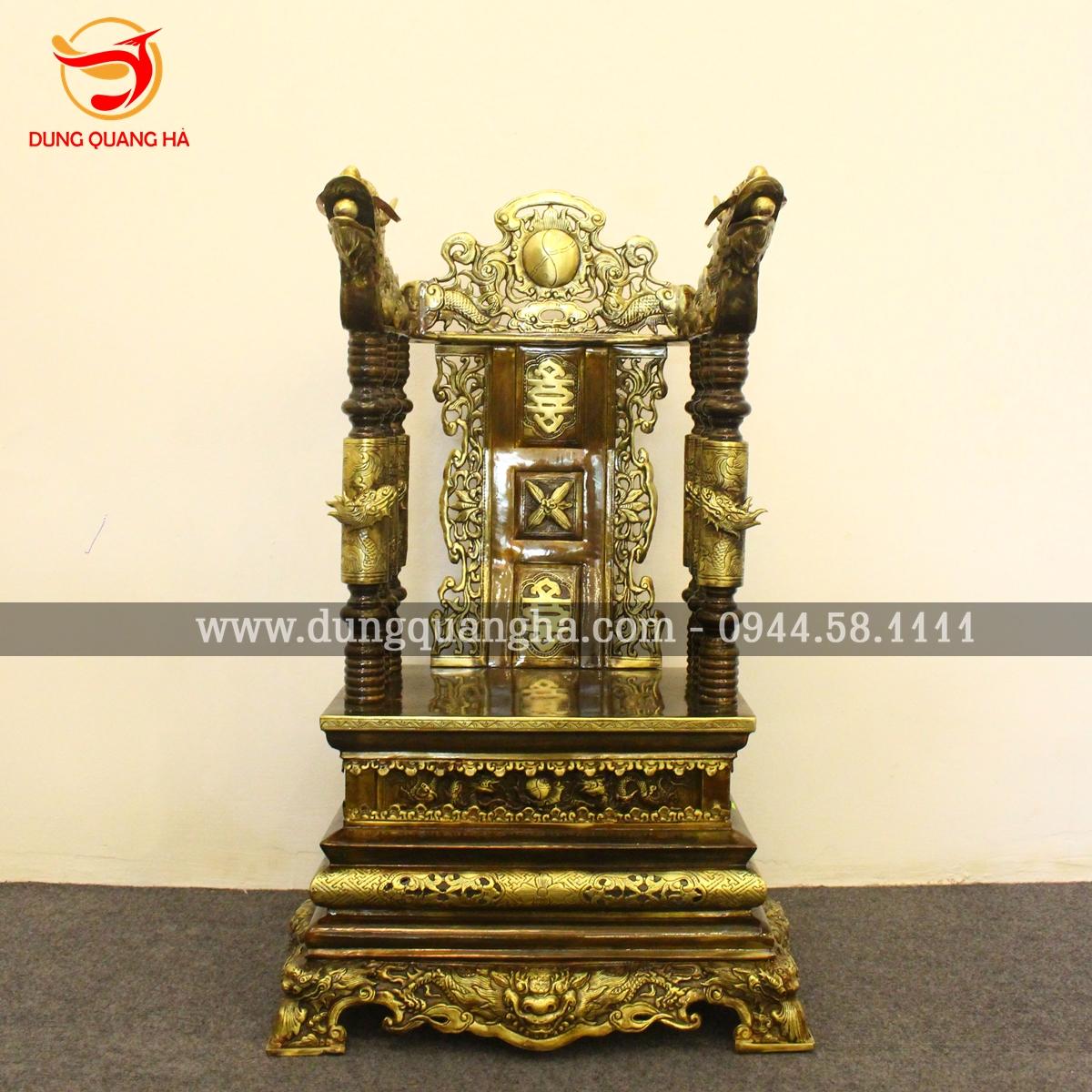 Ngai thờ gia tiên đồng vàng giả cổ tinh xảo ấn tượng