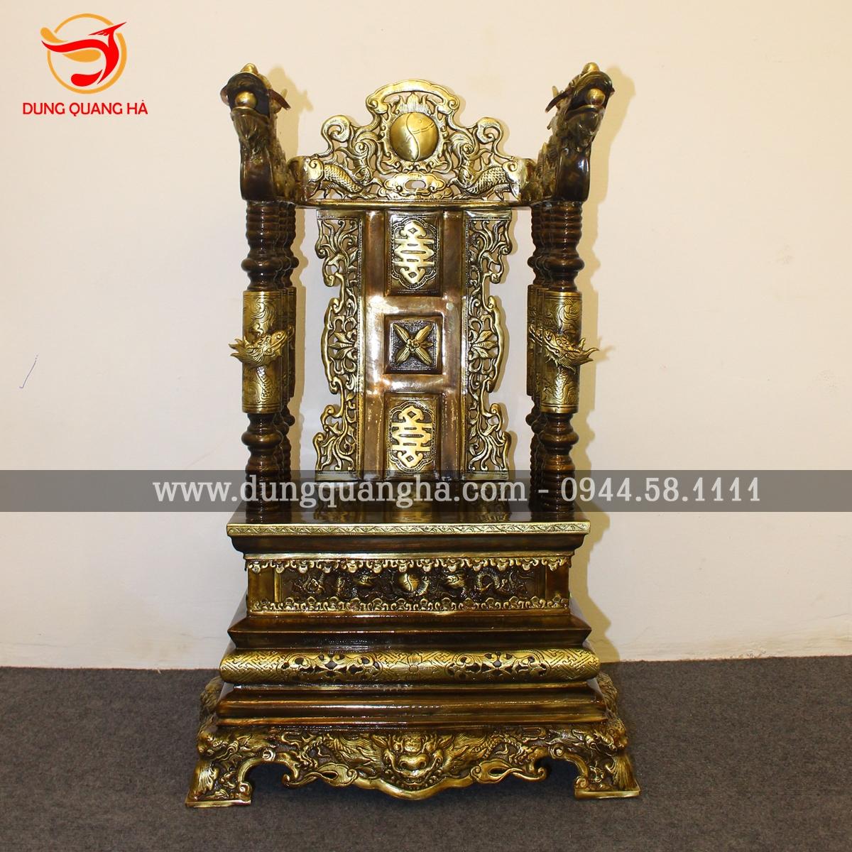Ngai thờ gia tiên đồng vàng giả cổ tinh xảo ấn tượng 2