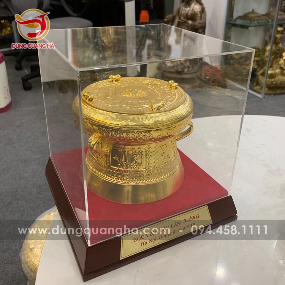 Quả trống đồng loại nhỏ 15cm mạ vàng 24k