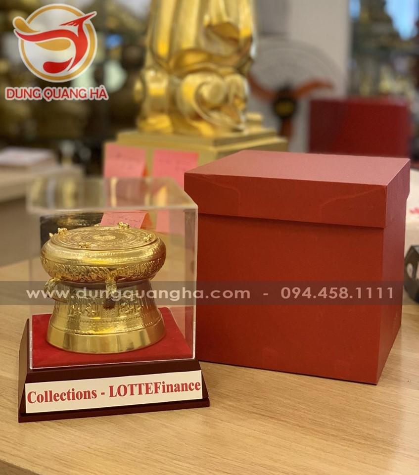 Quả trống đồng quà tặng mạ vàng đường kính 12cm