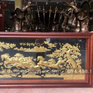 Tranh đồng Mã Đáo Thành Công khung gỗ gụ kích thước 1m7 x 90cm