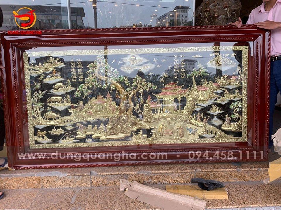 Tranh đồng quê đẹp khung gỗ tùng kích thước 2m3 x 1m15