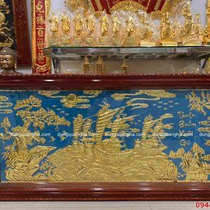 Tranh Thuận Buồm Xuôi Gió mạ vàng nền xanh