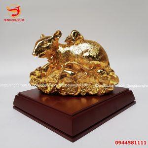 Tượng chuột phong thủy bằng đồng mạ vàng 24k