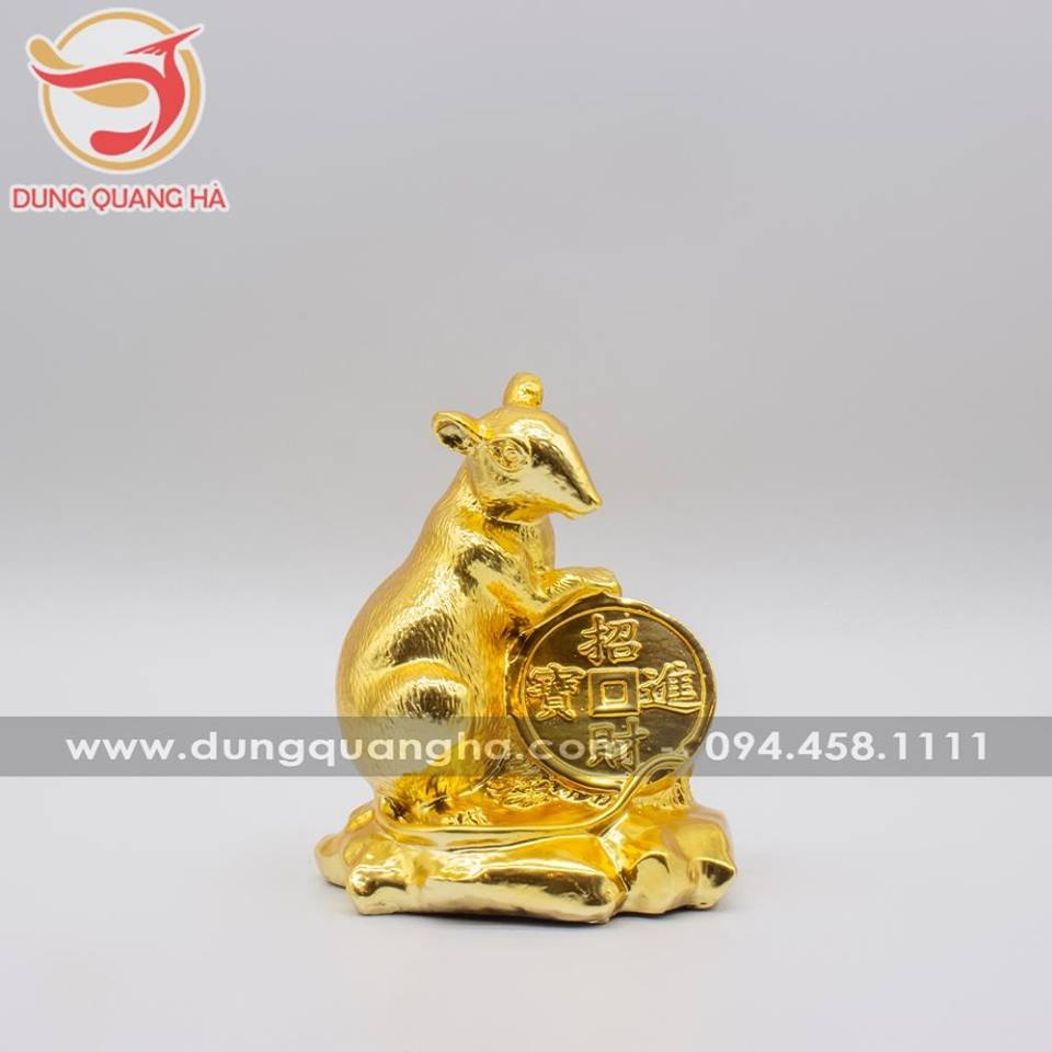Tượng chuột tài lộc mạ vàng tinh xảo
