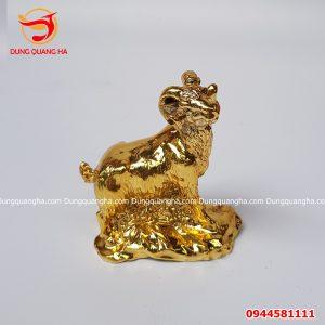 Tượng con dê bằng đồng mạ vàng 24k