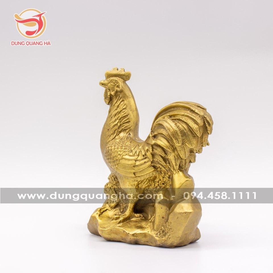 Tượng con gà trống phong thủy bằng đồng