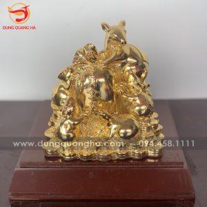 Tượng đàn chuột phong thủy ôm túi tiền vàng phú quý, tài lộc
