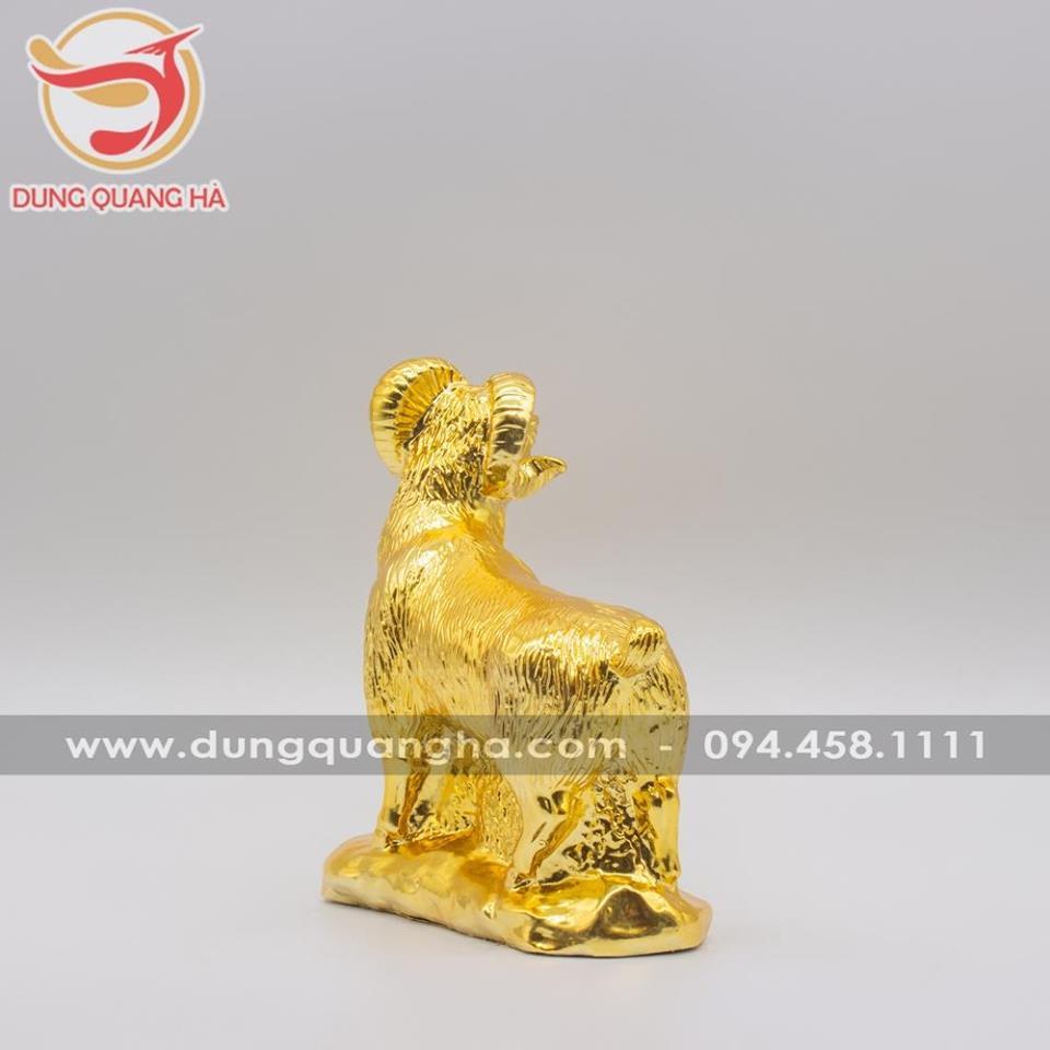 Tượng dê phong thủy mạ vàng cao cấp sống động