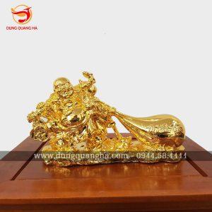 Tượng Di Lặc kéo túi tiền mạ vàng 24k