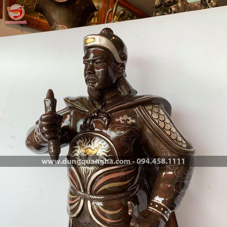 Tượng Đức Thánh Trần Hưng Đạo cao 70 cm khảm ngũ sắc - hàng độc quyền