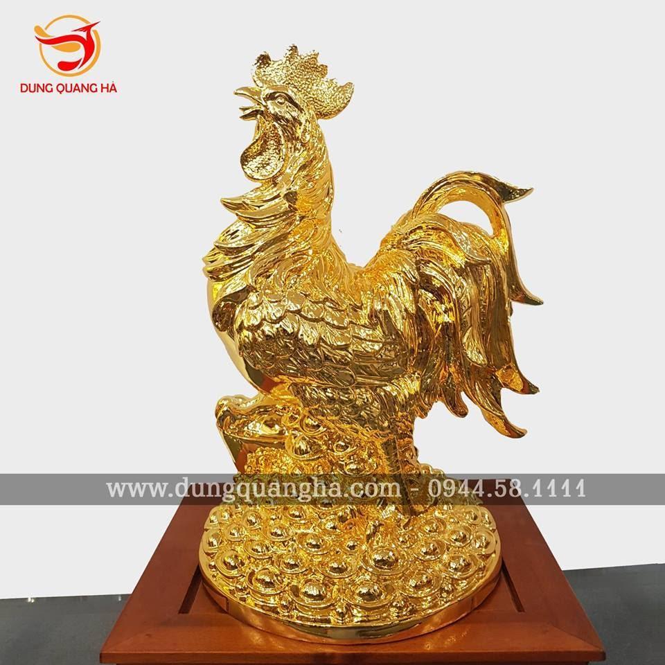 Tượng gà phong thủy bằng đồng mạ vàng 24k đẹp tinh xảo