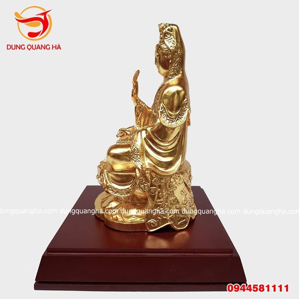 Tượng Phật Bà Quan Âm thếp vàng 9999