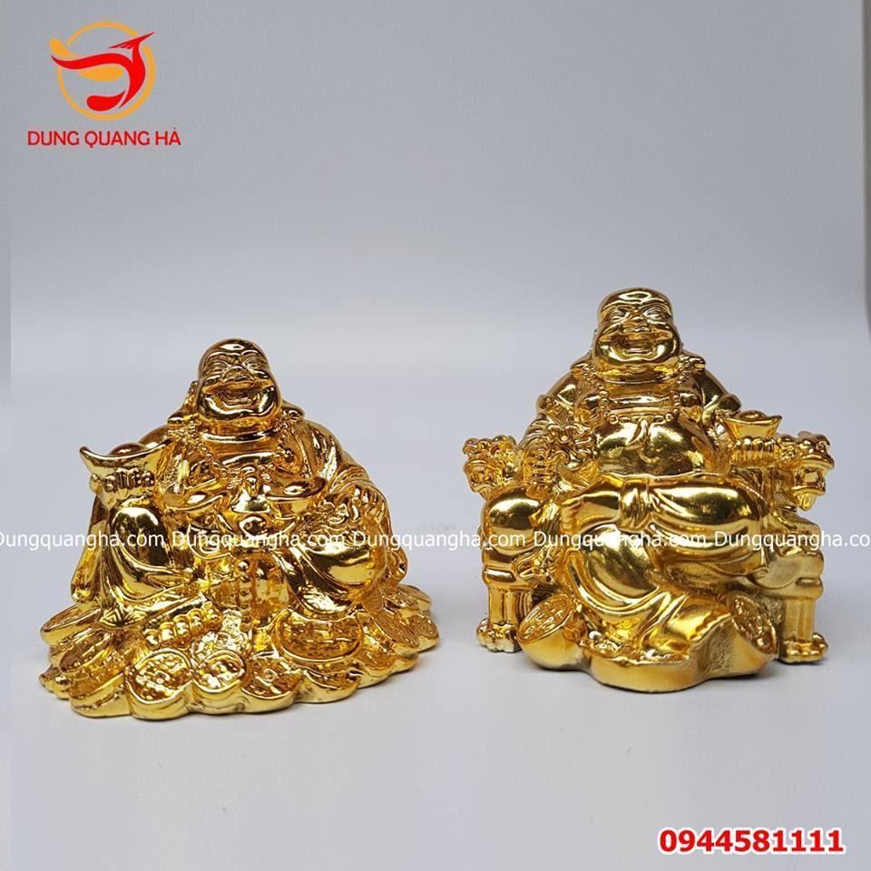 Tượng Phật Di Lặc để trên xe ô tô mạ vàng 24k