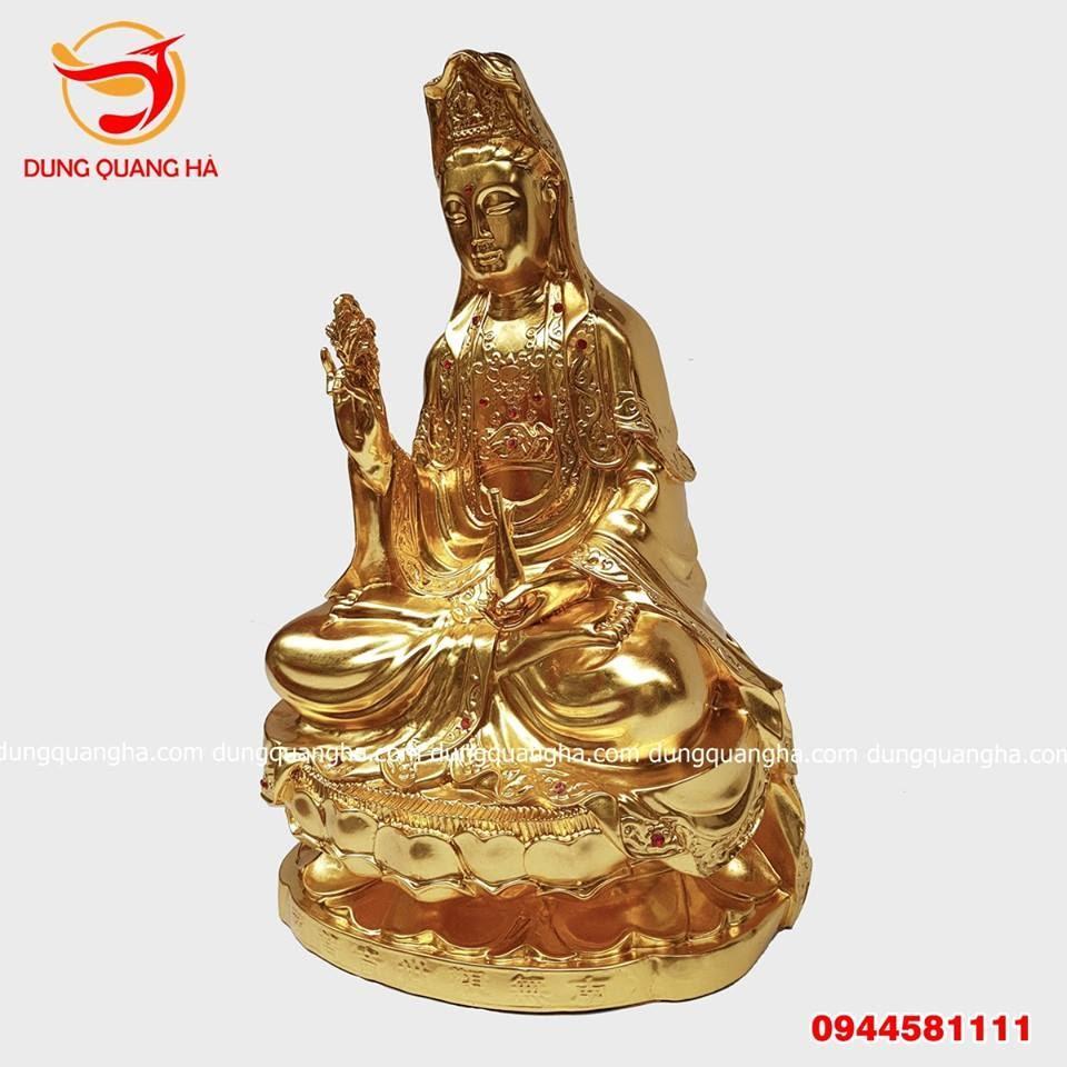 Tượng Phật Quan Âm thếp vàng 9999 đính ngọc