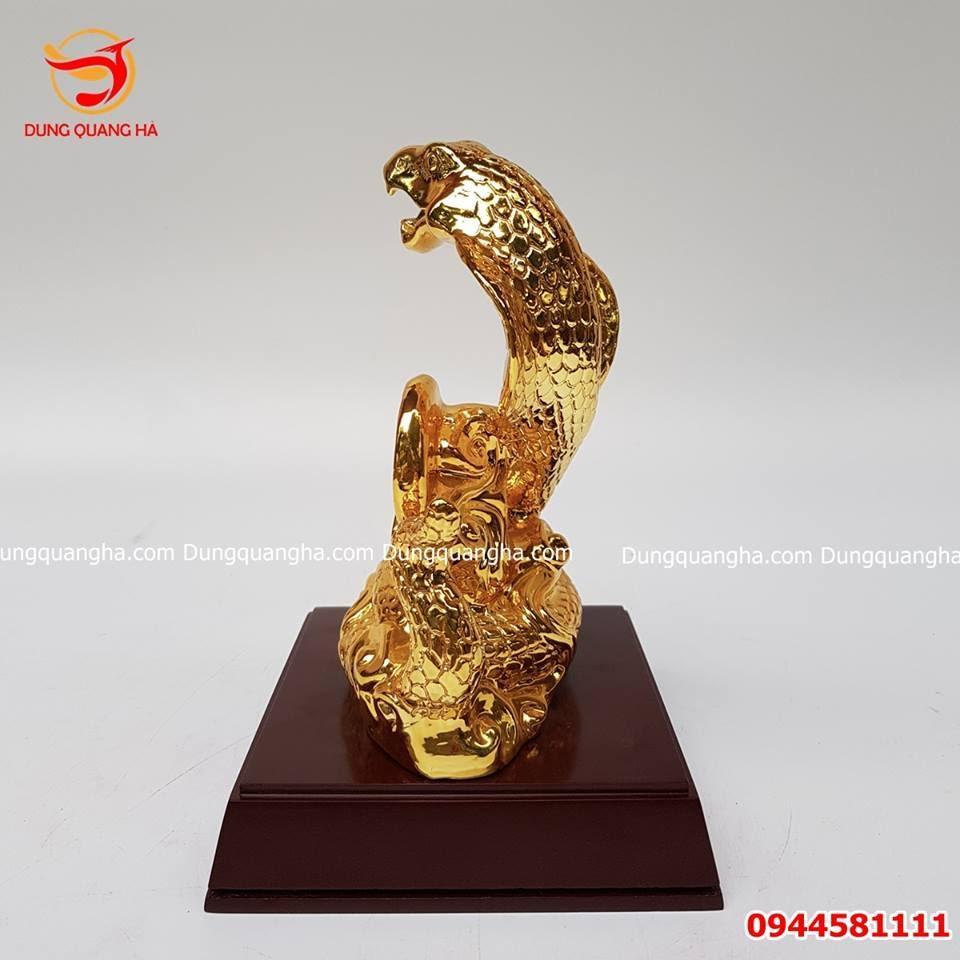 Tượng rắn phong thủy mạ vàng 24k