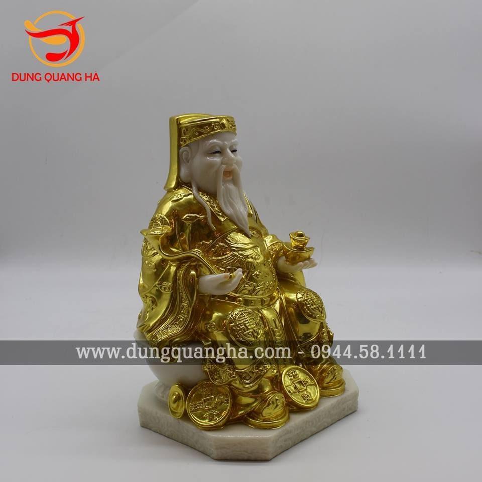 Tượng Thần Tài Thổ Địa bằng đá thếp vàng 9999