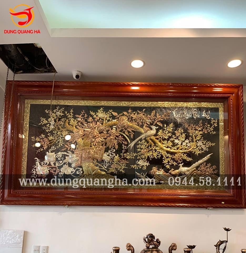 Ý nghĩa tranh Hoa Khai Phú Quý bằng đồng