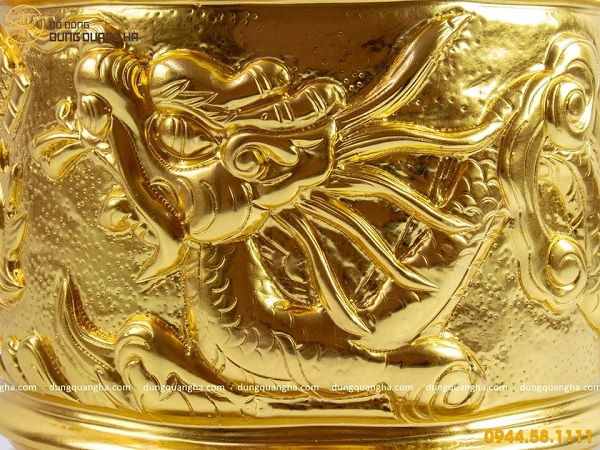 Bát hương đẹp bằng đồng dát vàng 9999 tinh xảo