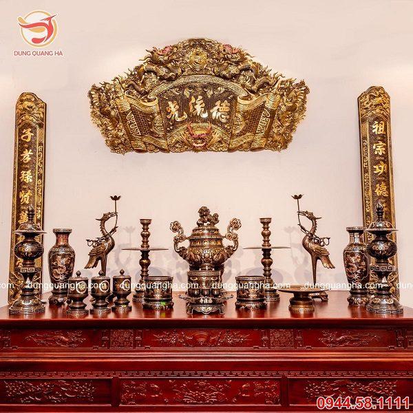 Bộ đỉnh đồng đầy đủ khảm ngũ sắc 5 chữ Hán Phúc Lộc Thọ Khang Ninh