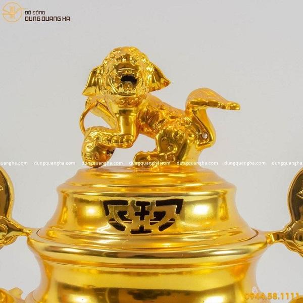 Bộ đỉnh đồng ngũ sự thếp vàng 9999 kèm phụ kiện