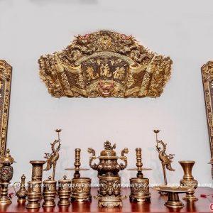 Bộ đồ thờ cúng đẹp đầy đủ phụ kiện bằng đồng đỏ cạo màu