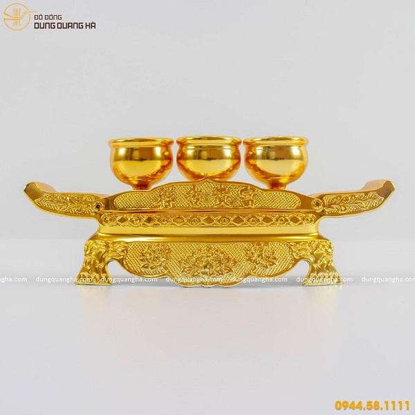 Bộ ngai chén thờ bằng đồng thếp vàng 9999